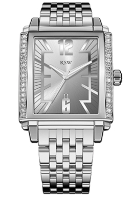 RSW Mens 9220.BS.S0.5.D1 Hampstead Silver Dial Rectangular Watch